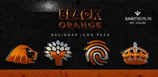 Black Orange HD Icon Pack Apps for Android screenshot