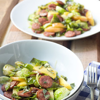 Beer-Glazed Sausage with Brussels Sprouts and Apples
