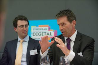 Photo: Álvaro Martín, head economist of digital regulation at Banco Bilbao Vizcaya Argentaria (BBVA) Research; and David Rutter, founder and CEO of R3 CEV