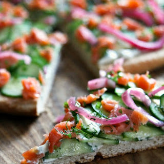 Smoked Salmon Cucumber Pizza.
