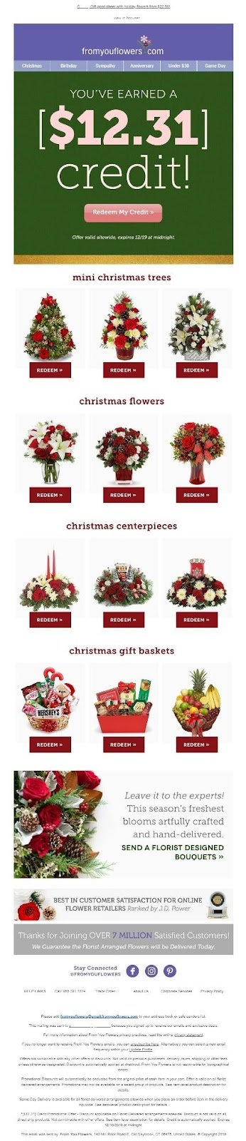 fromyouflowers.com holiday email campaign