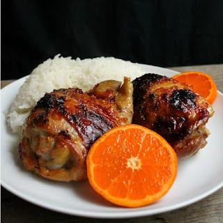 Orange Glazed Chicken Thighs and Coconut Rice