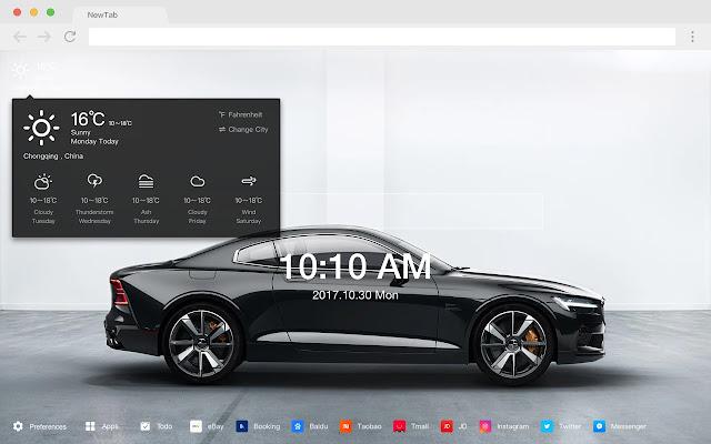 Electric car popular HD car new tab theme