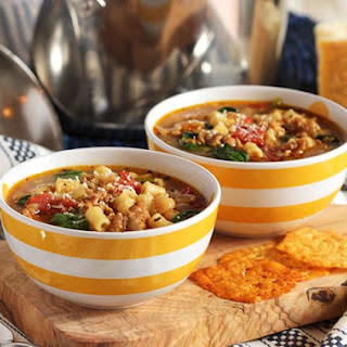 Italian Sausage Soup with White Beans and Spinach.