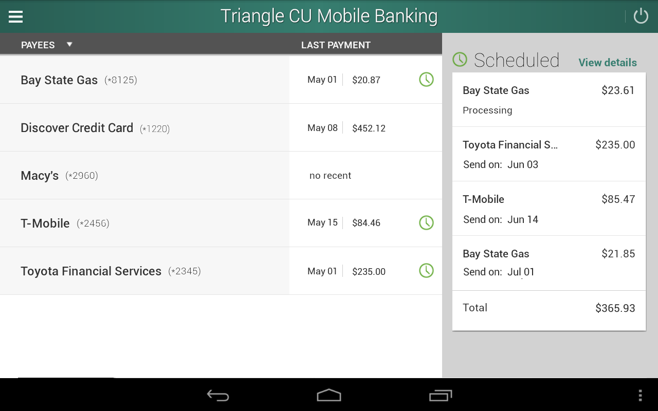 Triangle Credit Union- screenshot