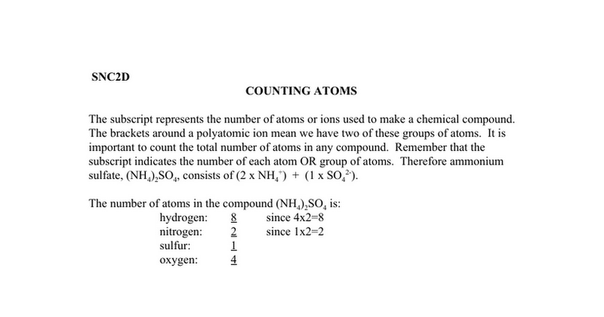 Chem09 - Counting Atoms and Balancing Equations - Note and Worksheet ...