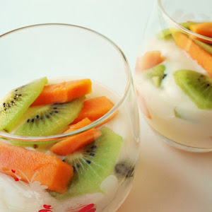 Coconut Pudding with Papaya and Kiwi
