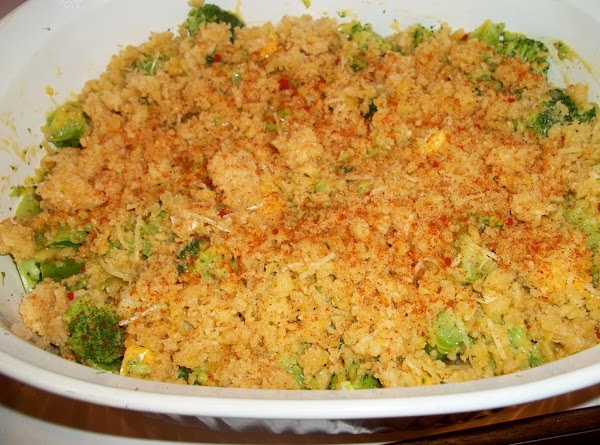 Melt butter and mix with crushed crackers and cheese. Spread crackers over broccoli mixture....