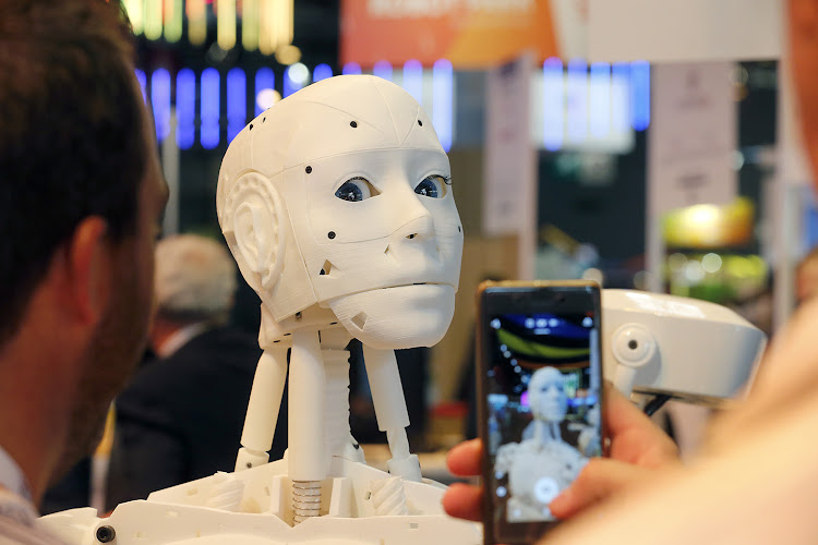 A humanoid robot made by a 3D printer at the InMoov display of the Viva Technology showin Paris earlier this year.