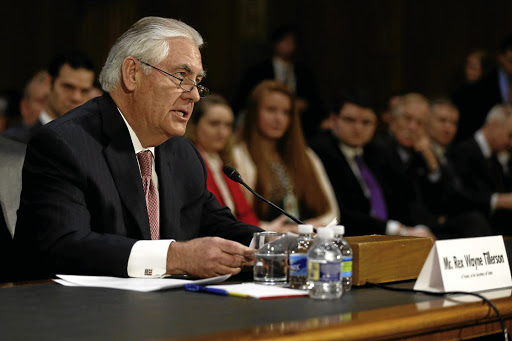 Foreign affairs:  Rex Tillerson, the former chairman and CEO of ExxonMobil, testifies on Wednesday before a Senate foreign relations committee in Washington. The committee held a confirmation hearing on his nomination to be US secretary of state. Picture: REUTERS