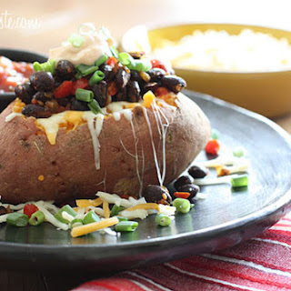 Loaded Vegetarian Baked Sweet Potato.