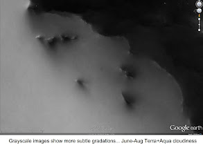 """Photo: this is June-August mean cloudiness, note less cloudiness """"behind"""" islands"""