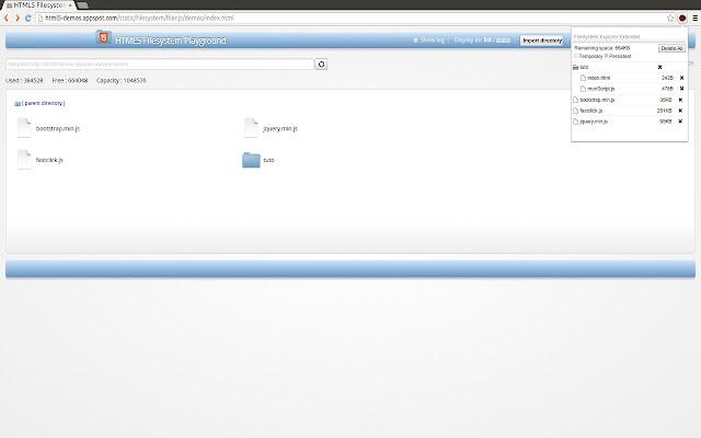 HTML5 FileSystem Explorer Extended