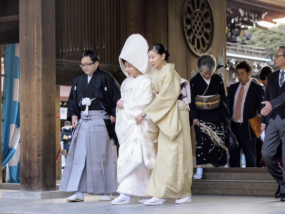 A traditional Japanese wedding in a Shinto shrine