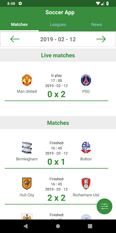 Soccer App - Matches and Live scores – (Android Aplikace