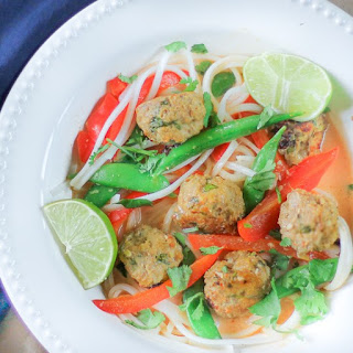 Thai Curry Soup with Turkey Meatballs.