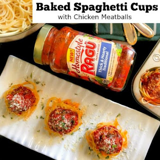 Baked Spaghetti Cup with Chicken Meatballs