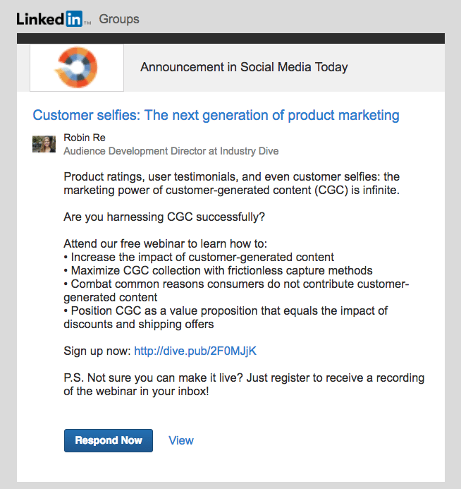 example of lead generation opportunity on LinkedIn