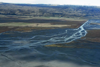 Photo: A braided river is one that has a channel that consists of a network of small channels separated by small and often temporary islands called braid bars.