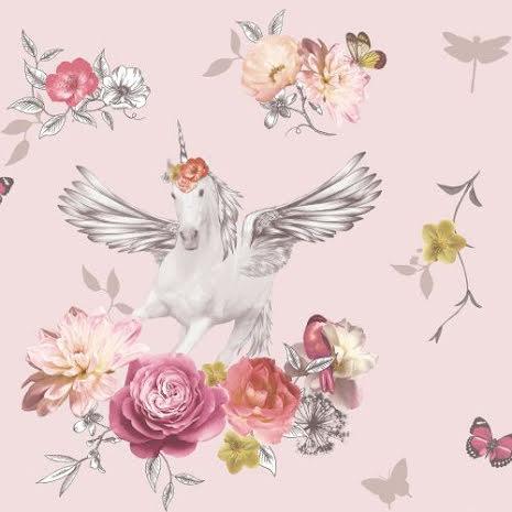 Tapet med enhörning och glitter Fantasia Anastasia Unicorn från Arthouse - Rosa 692302