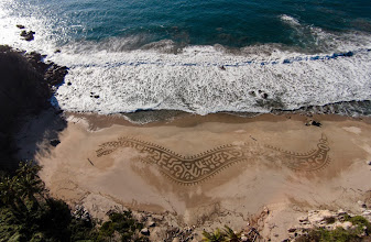 Photo: In honor of being in Mexico and of being on a long, thin beach, here is a representation of xiuhcóatl, the Aztec fire serpent, the light that drives out the darkness. While we were finishing, an elder who felt ancient yet vibrant came walking along the beach with his staff. It felt so beautiful and appropriate