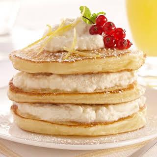 Lemon Ricotta Pancakes with Lemon Ricotta Cream.