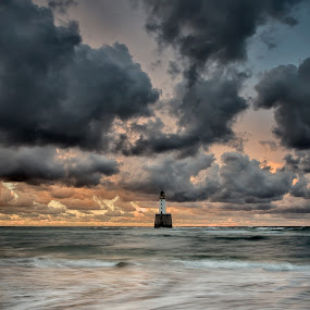 Rattray Head Sunset II by Charlie Davidson - Landscapes Sunsets & Sunrises ( clouds, sand, scotland, waves, sunset, lighthouse, cloudscape, sea, long exposure, ocean, beach, seascape,  )