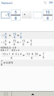 Kalkulačka pro zlomky - náhled