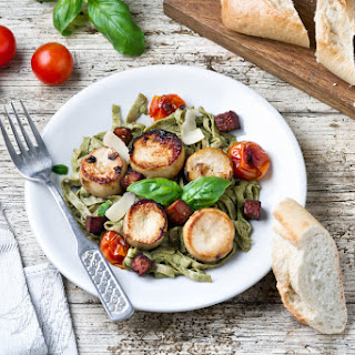 Vegan Scallops With Pesto Pasta