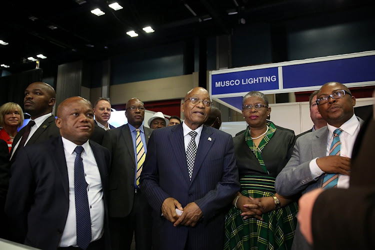 December 5, 2017. KwaZulu-Natal MEC for Economic Development, Tourism and Environmental Affairs Sihle Zikalala, President Jacob Zuma, eThekwini Mayor Zandile Gumede and Transnet Group CEO Siyabonga Gama during a walkabout at the Terminal Operators' Conference Africa (TOC) at the Inkosi Albert Luthuli International Convention Centre in Durban.