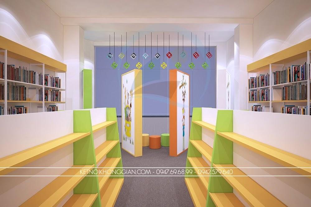 thiết kế nội thất nhà sách màu mè