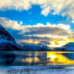 Sunray by Elisabeth Sjåvik Monsen - Landscapes Cloud Formations ( winter, nature, sea, arctic, coast, norway,  )