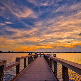 Enjoying the Afterglow by Bill Camarota - Landscapes Sunsets & Sunrises ( clouds, colorful, sunset, florida, dramatic, dock )