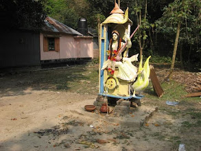Photo: A Saraswati Puja (1/30/09) celebrated in the rustic neighborhood of the hamlet of Bakchar close to Bakchar Angina.