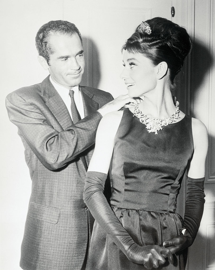 Audrey Hepburn wearing a necklace featuring the famed Tiffany Diamond in the sixties.