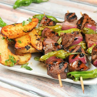 Sirloin Steak and Shishito Pepper Skewers With Miso-Glazed Fingerling Potatoes
