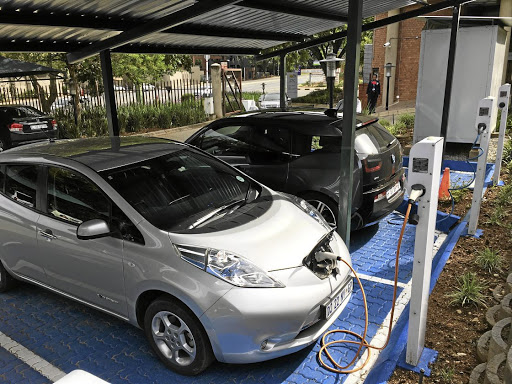 A solar-powered electric car charging facility at the Industrial Development Corporation in Sandton.