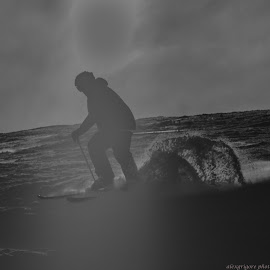 SKI  by Alexandru Bogdan Grigore - Sports & Fitness Other Sports ( ski, winter, freedom, black and white, snow, passion, sun )