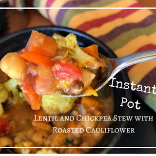 Mediterranean Lentil and Chickpea Stew with Roasted Cauliflower.