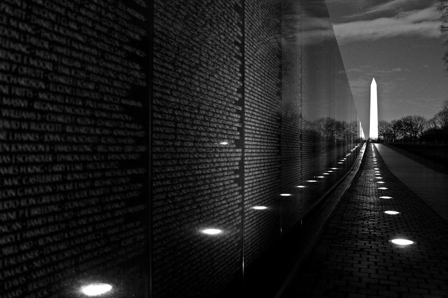 Vietnam Memorial by Bryan Rasmussen - Landscapes Travel ( lights, vietnam memorial, memorial, black and white, names, night, washington dc, war )