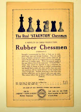 """Photo: Ad. from British Chess Magazine, Jan 1925  This is the earliest ref. to the TAN sets that I have seen so far. The price for the larger set at £2 is the same as the 40/- shown as a pencil mark to the label on my set  (see earlier image 5 in this album).  As noted earlier, however, my set does not have the Trade Mark stamp on it, so it may be still earlier than 1925.   Other interesting points: the box labels for the TAN's show them as """"modeled on the lines of the celebrated Staunton Chessmen"""" - here, it simply uses the """"Real Staunton Chessmen"""". Also, at the foot of the ad, it shows them as """"Jaques' Tuff-A-Nuff"""" - including """"Jaques"""" as in the main body of the label on my set, but which does not appear on Jon's.   (ad. provided by Mick - thanks!)"""