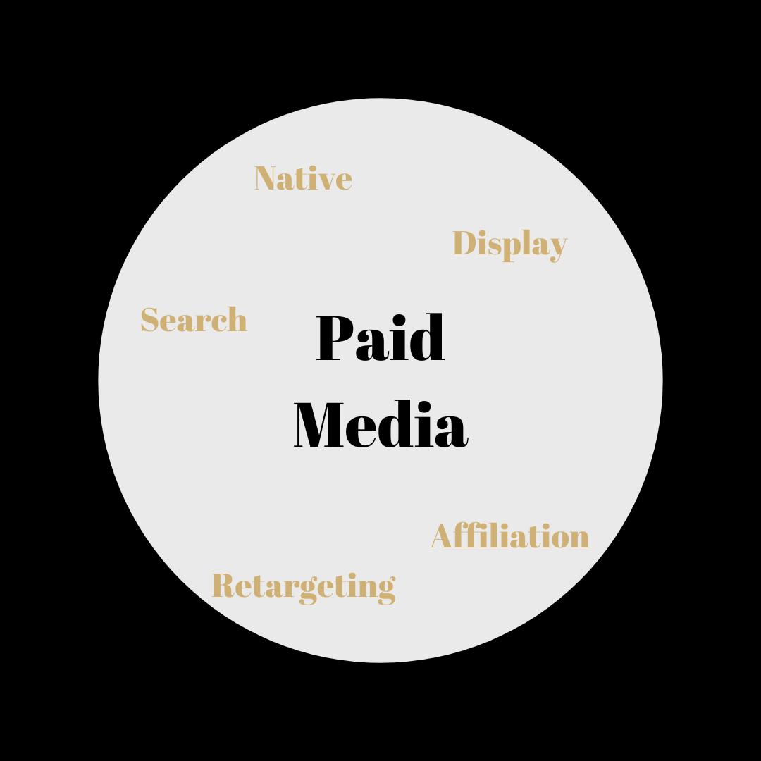 Schéma du Paid Media : Un des leviers du Webmarketing avec approfondissement des notions Search, Display, Native et affiliation