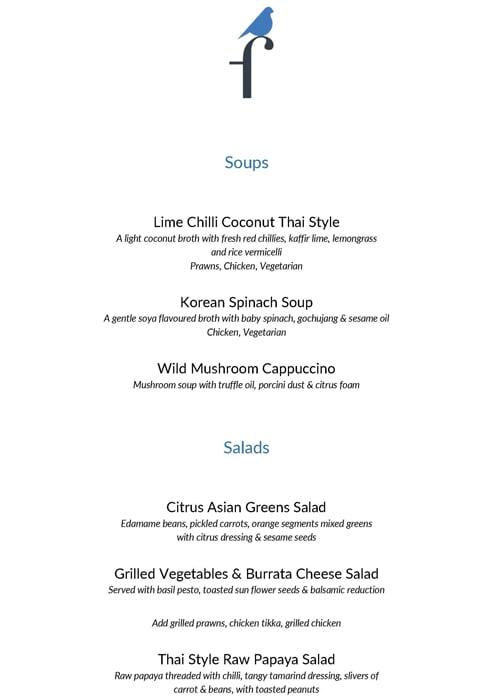 The Finch menu 3