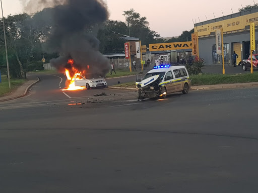 WATCH | Tow truck bursts into flames after being hit by police van in KZN