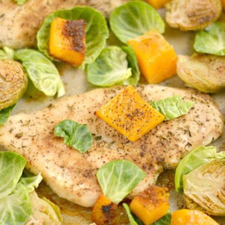 One Pan Chicken Brussels Sprouts & Butternut Squash