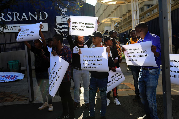 Wits students who are against the trialing of the Covid-19 vaccine in South Africa held demonstrations outside the university in Braamfontein on July 1 2020.