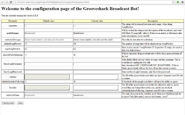 Grooveshark Broadcast Bot
