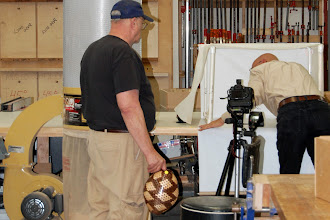 Photo: Birthday boy Mike Colella prepares to shoot the Show & Tell pieces with Bob Grudberg helping.
