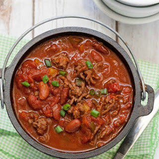 Healthy Beef, Sausage and Bean Chili.
