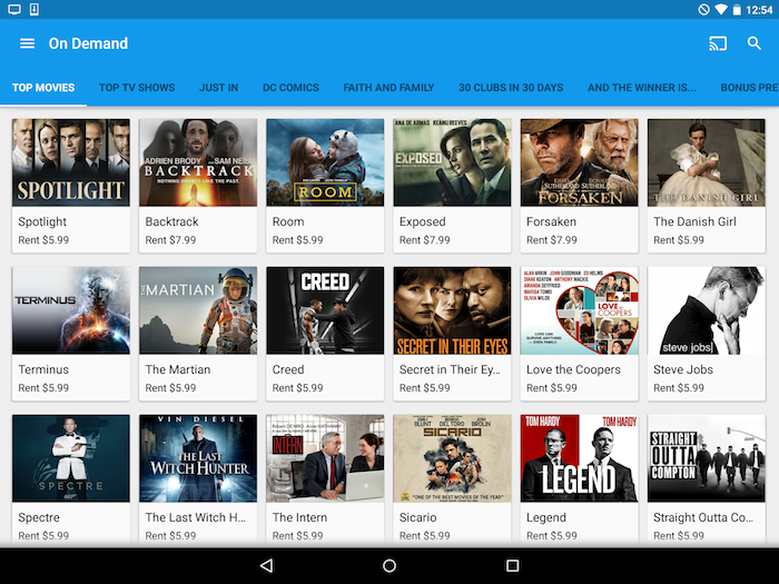 Find video on demand in the Google Fiber TV app on Android.